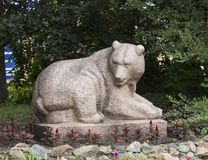 Sculpture of bear. The bear sculpture in stone in Barnaul Royalty Free Stock Image