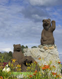 The sculpture bears. The sculpture of the bear and two bear on the rocks Stock Image
