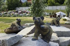 The sculpture bears. The sculpture of the  three bear on the rocks Royalty Free Stock Photos