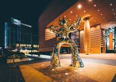 Sculpture and the Bechtler Museum of Modern Art at night, in Upt. Own Charlotte, North Carolina Stock Photo