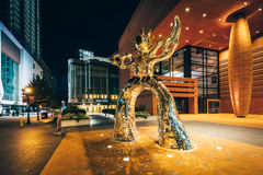Sculpture and the Bechtler Museum of Modern Art at night, in Upt. Own Charlotte, North Carolina Stock Images