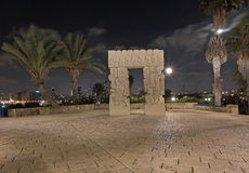 Sculpture A belief gate in Abrasha park, Old Yaffo by night, Israel Stock Photo