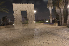 Sculpture A belief gate in Abrasha park, Old Yaffo by night, Israel Stock Images