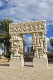 Sculpture `A belief gate` in Abrasha park in Yaffo with overlooking Tel Aviv in the background. Israel Stock Images