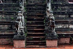 Sculpture in Bhaktapur. Stone staircase with sculptures on Durbar Square in Bhaktapur Stock Images
