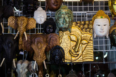 Sculpture bhuddha and animal hanging in Thai public temple Royalty Free Stock Photos