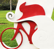 Sculpture with bicycle game Royalty Free Stock Photography