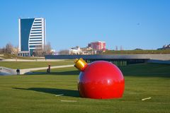 Sculpture of a big New Years toy on a grass Stock Photos