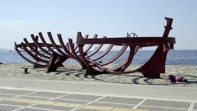 Sculpture of Bihrat Mavitan`s Ship`s Backbone at Izmir Turkey. No people around because of the Cor