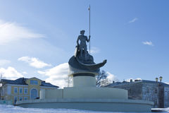 Sculpture Birth of Petrozavodsk on the embankment of Lake Onega in the winter day, Petrozavodsk, Russia Stock Image