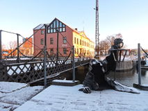Sculpture - Black Ghost- in Klaipeda town, Lithuania Royalty Free Stock Image