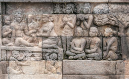 Sculpture at Borobudur Royalty Free Stock Photography