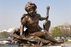 Sculpture. Bridge of Alexander III in Paris. Stock Photo