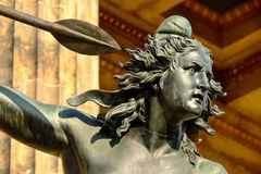 Sculpture, Bronze, Woman, Amazone Stock Photos