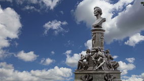 Sculpture on the Bruhl Terrace, a historic architectural ensemble in Dresden,  Germany stock footage