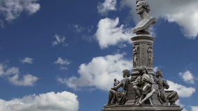 Sculpture on the Bruhl Terrace, a historic architectural ensemble in Dresden, Germany stock video