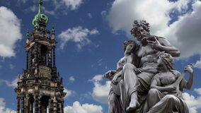 Sculpture on the Bruhl Terrace and  Hofkirche or Cathedral of Holy Trinity - baroque church in Dresden, Sachsen, Germany stock footage