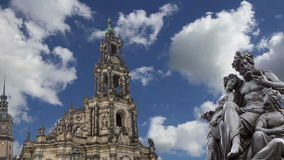 Sculpture on the Bruhl Terrace and  Hofkirche or Cathedral of Holy Trinity - baroque church in Dresden, Sachsen, Germany stock video
