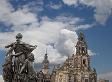 Sculpture on the Bruhl Terrace and  Hofkirche or Cathedral of Holy Trinity - Dresden, Sachsen, Germany Royalty Free Stock Images