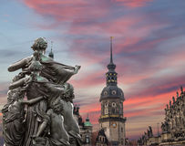 Sculpture on the Bruhl Terrace and  Hofkirche or Cathedral of Holy Trinity - Dresden, Sachsen, Germany Stock Photo