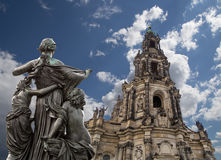 Sculpture on the Bruhl Terrace and  Hofkirche or Cathedral of Holy Trinity - Dresden, Sachsen, Germany Royalty Free Stock Photos