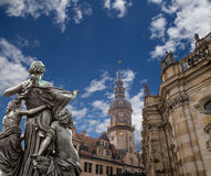 Sculpture on the Bruhl Terrace and  Hofkirche or Cathedral of Holy Trinity - Dresden, Sachsen, Germany Stock Image