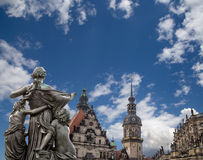 Sculpture on the Bruhl Terrace and  Hofkirche or Cathedral of Holy Trinity - Dresden, Sachsen, Germany Royalty Free Stock Photography