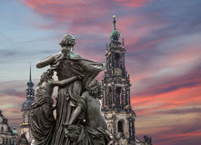 Sculpture on the Bruhl Terrace and  Hofkirche or Cathedral of Holy Trinity - Dresden, Sachsen, Germany Stock Photography