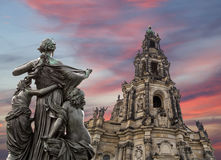 Sculpture on the Bruhl Terrace and  Hofkirche or Cathedral of Holy Trinity - Dresden, Sachsen, Germany Stock Photos