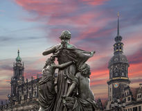 Sculpture on the Bruhl Terrace and  Hofkirche or Cathedral of Holy Trinity - Dresden, Sachsen, Germany Stock Images