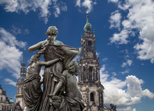 Sculpture on the Bruhl Terrace and  Hofkirche or Cathedral of Holy Trinity - Dresden, Sachsen, Germany Royalty Free Stock Image