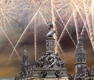 Sculpture on the Bruhl Terrace and  Hofkirche or Cathedral of Holy Trinity and holiday fireworks - baroque church in Dresden, Sach Stock Photos