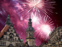 Sculpture on the Bruhl Terrace and  Hofkirche or Cathedral of Holy Trinity and holiday fireworks - baroque church in Dresden, Sach Stock Photography