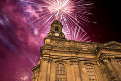 Sculpture on the Bruhl Terrace and  Hofkirche or Cathedral of Holy Trinity and holiday fireworks - baroque church in Dresden, Sach Royalty Free Stock Photo