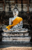 sculpture of Buddha in the ancient city of Ayuttha Stock Photography