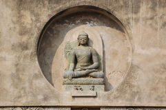 Sculpture of Buddha at the Mahabodhi Temple. Bodh gaya, India – February 8, 2006: A sculpture of Buddha at the Mahabodhi Temple on February 8, 2006 in Bodh Stock Photography