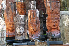 Sculpture Buddha wood. Sculpture wood in Bannthawai ,Chiangmai Royalty Free Stock Photography