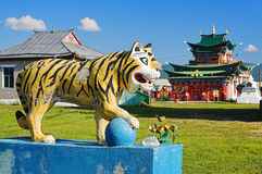 Sculpture of Buddhist Tiger Stock Photos