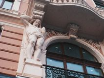 Sculpture on the building and architecture of the city of Lviv.  royalty free stock photography