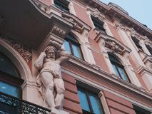 Sculpture on the building and architecture of the city of Lviv.  royalty free stock photo