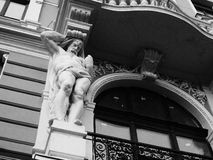 Sculpture on the building and architecture of the city of Lviv.  royalty free stock images