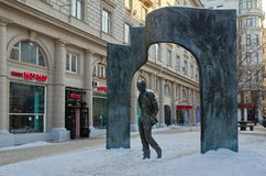Sculpture Of Bulat Okudzhava, Moscow, Russia. Moscow, Russia - December 16, 2016: The monument to the famous poet Bulat Okudzhava on Arbat street Stock Photos