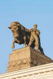 A sculpture of a bull and a shepherd, on the building of the pavilion of Meat industry all-Russian exhibition center in Moscow, Ru Royalty Free Stock Photos