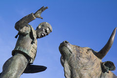 Sculpture of a bullfighter in front of his fight b. Ull (details) in Vic-Fezensac, France royalty free stock images