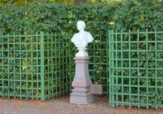 Sculpture-bust of Trajan. Summer garden. St. Petersburg. stock images