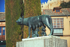 Sculpture Capitoline she-wolf is located in Segovia Stock Photos