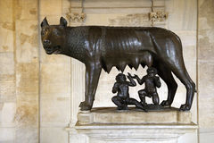 Sculpture of Capitoline Wolf, Romulus, and Remus stock photo
