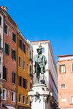 Sculpture of Carlo Goldoni on Campo San Bartolomeo Stock Images