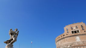 Sculpture and the Castle of San Angelo. Rome, Ita stock video