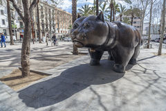 Sculpture Cat, by Fernando Botero, Barcelona. royalty free stock images